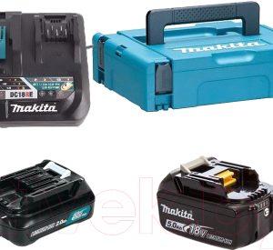 Набор аккумуляторов для электроинструмента Makita BL1021B + BL1850B с зарядным DC18RE