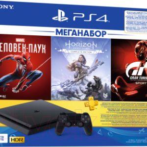 Игровая приставка Sony PlayStation 4 1TB + GTS/HZD CE/SpiderM / PS719391302 (PS+3M)